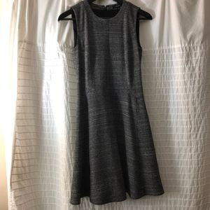 Madewell Black/White Sleeveless Wool Silk Dress